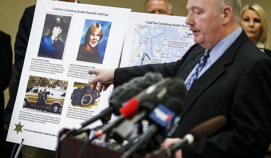 FILE - In this April 11, 2018, file photo, Snohomish County Cold Case Detective Jim Scharf, right, shares details of the unsolved case of the 1987 double homicide of Jay Cook and Tanya Van Cuylenborg, during a press conference in Everett, Wash. William Earl Talbott II charged in the slayings of the young Canadian couple is facing trial in Washington state this week. (Ian Terry/The Herald via AP, File)