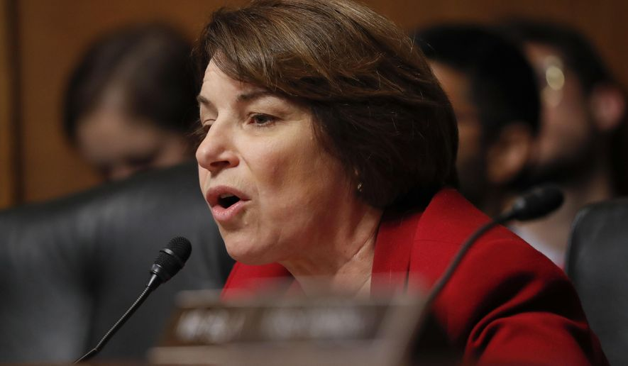 Committee member Sen. Amy Klobuchar, D-MN., questions Acting Department of Homeland Security Secretary Kevin McAleenan at the Senate Judiciary Committee hearing on Capitol Hill in Washington, Tuesday, June 11, 2019. (AP Photo/Pablo Martinez Monsivais)