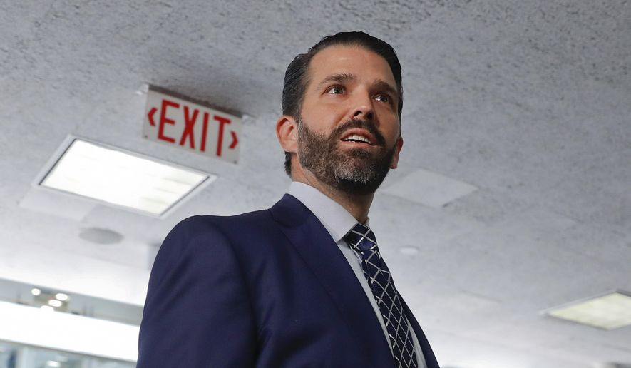 Donald Trump Jr., the son of President Donald Trump, is seen leaving after having met privately with members of the Senate Intelligence Committee on Capitol Hill on Washington, Wednesday, June 12, 2019 (AP Photo/Pablo Martinez Monsivais) ** FILE **