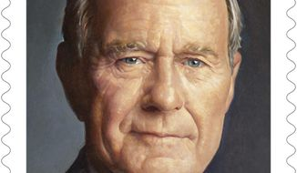 This file photo provided by the U.S. Postal Service shows the new Forever stamp design honoring former President George H.W. Bush. A ceremony to mark the first day of issue for the stamp honoring the late president has been held in Texas. The event was held Wednesday, June 12, 2019, on the Texas A&M University campus in College Station, where Bush's presidential library is located. Bush died in Houston on Nov. 30 at the age of 94. (U.S. Postal Service via AP, File) **FILE**