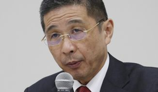 "FILE - In this Dec 17, 2018, file photo, Nissan Motor Co. Chief Executive Hiroto Saikawa speaks during a press conference in Yokohama. An investor research company is advising Nissan shareholders to vote against the proposal to reappoint Chief Executive Hiroto Saikawa as board director, saying the Japanese automaker needs a ""break from the past"" after the arrest of his predecessor Carlos Ghosn. (AP Photo/Koji Sasahara, File)"