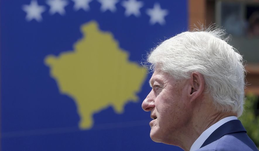 Former U.S. President Bill Clinton speaks during anniversary celebrations in the capital Pristina, Kosovo, Wednesday, June 12, 2019. Exactly 20 years ago, NATO forces set foot in the former Yugoslav province _ revered by Serbs as their historic and religious heartland _ after an allied bombing campaign ended Serbia's bloody crackdown on an insurrection by Kosovo's majority ethnic Albanian population. (AP Photo/Visar Kryeziu)