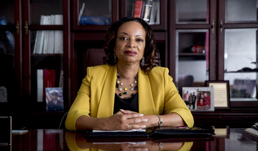 Health and Human Services Office of Inspector General Deputy Inspector General for Audit Services Gloria Jarmon poses for a photograph in her office in Washington, Monday, June 10, 2019. Nursing facilities have failed to report thousands of serious cases of potential neglect and abuse of Medicare beneficiaries even though the federal government requires it, says a watchdog report due out Wednesday, June 12, that calls for a new focus on protecting frail patients. (AP Photo/Andrew Harnik)