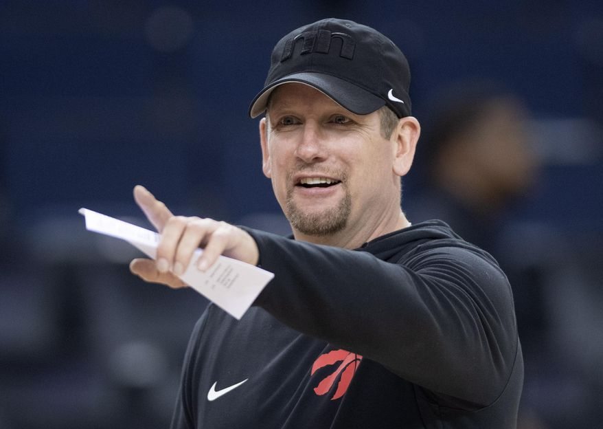 Toronto Raptors head coach Nick Nurse gestures during a team practice in Oakland, Calif., Wednesday, June 12, 2019. The Raptors are scheduled to play the Golden State Warriors in Game 6 of basketball's NBA Finals on Thursday. (Frank Gunn/The Canadian Press via AP)