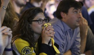 A Boston Bruins fan, left, clasps her hands together while watching television coverage of Game 7 of the NHL hockey Stanley Cup Final between the Bruins and the St. Louis Blues in a bar, Wednesday, June 12, 2019, in Boston. (AP Photo/Steven Senne)