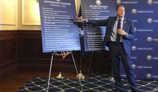 Republican Gov. Chris Sununu points to a poster featuring highlights from his proposed budget on Wednesday, June 12, 2009, in Concord, N.H.  As lawmakers get ready to reconcile competing House and Senate versions of the budget, Sununu outlined areas where he believes all sides can find common ground. (AP Photo/Holly Ramer)