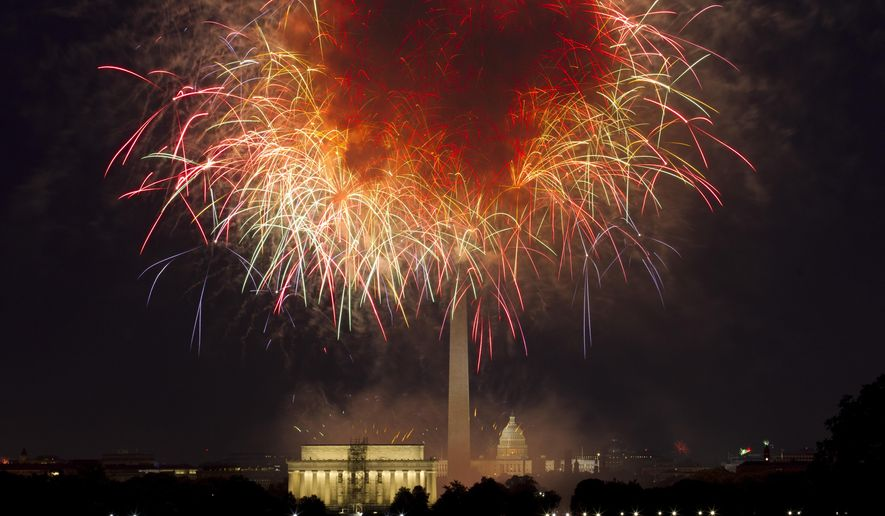 In this July 4, 2018, file photo, fireworks explode over Lincoln Memorial, Washington Monument and U.S. Capitol, along the National Mall in Washington, during the Fourth of July celebration. (AP Photo/Jose Luis Magana, File)