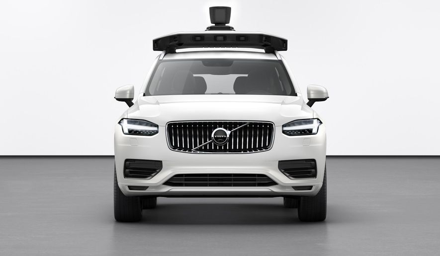 This undated product image provided by Volvo Cars shows the Volvo XC90 SUV. Uber is teaming with Volvo Cars to launch its newest self-driving vehicle. The ride-hailing company said Wednesday, June 12, 2019, that it can easily install its self-driving system in the Volvo XC90 SUV. (Volvo Cars via AP)
