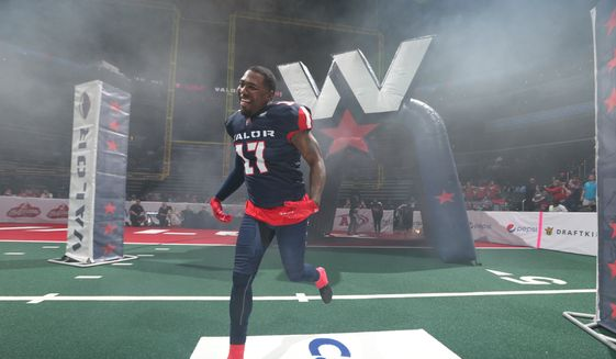 Washington Valor linebacker Alvin Ray Jackson runs onto the field before an Arena Football League game. (Photo by Ned Dishman / courtesy of Washington Valor) ** FILE **