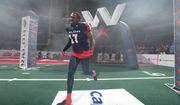 Washington Valor linebacker Alvin Ray Jackson runs onto the field before an Arena Football League game. (Photo by Ned Dishman / courtesy of Washington Valor)
