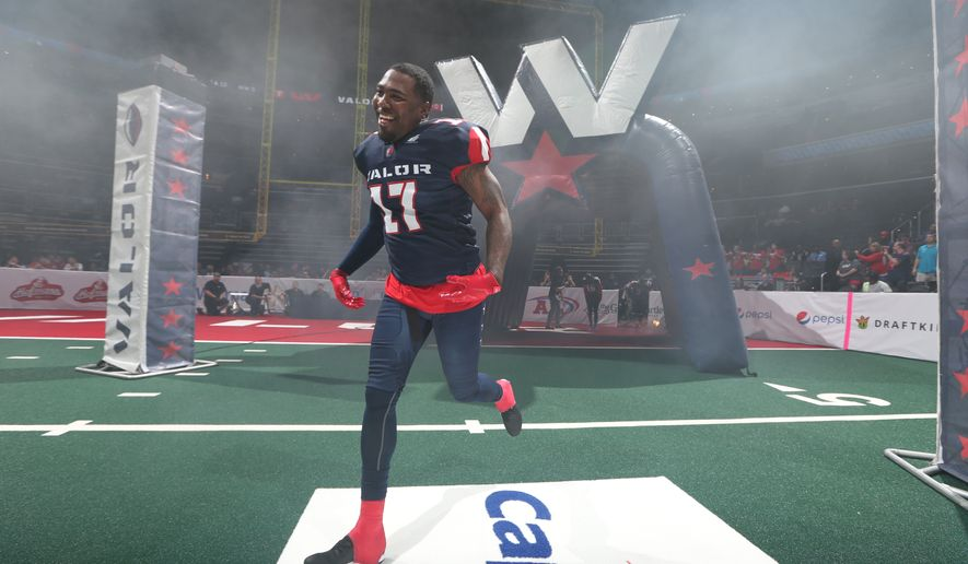 Washington Valor linebacker Alvin Ray Jackson runs onto the field before an Arena Football League game. (Photo by Ned Dishman / courtesy of Washington Valor)