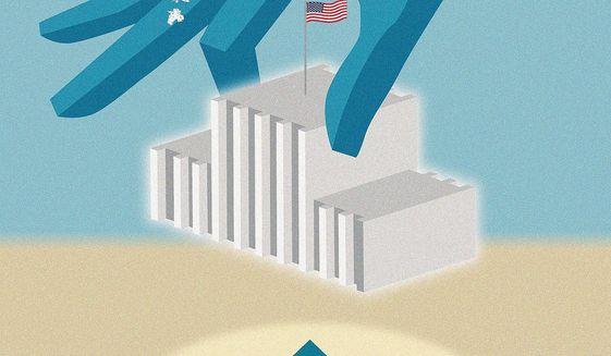 Illustration on moving the U.S. Embassy to Jerusalem by Linas Garsys/The Washington Times