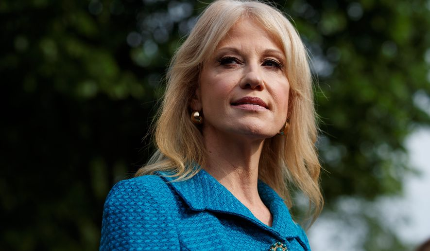In this April 30, 2019, photo, White House counselor Kellyanne Conway talks with reporters outside the White House in Washington.  A federal watchdog is recommending that President Donald Trump remove counselor Kellyanne Conway from federal service for repeatedly violating the Hatch Act by repeatedly disparaging Democratic presidential candidates while speaking in her official capacity during television interviews and on social media.  (AP Photo/Evan Vucci) ** FILE **