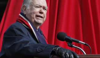 FILE - In this April 14, 2018 file photo, David Boren, president of the University of Oklahoma, speaks during the unveiling of a statue of former head football coach Bob Stoops in Norman, Okla. Former President Boren has cut all remaining ties with the university, surrendering his president emeritus status, stoping teaching political science at the university and letting go of his free tickets to football games and other OU sporting events.The university was investigating whether Boren sexually harassed male subordinates. (AP Photo/Sue Ogrocki, File)