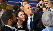 New Jersey Sen. Cory Booker takes a selfie following a town hall in Charleston, S.C., Saturday, March 2, 2019. Booker is wrapping up a two-day campaign swing in this early voting state, where the Democratic electorate is heavily African-American. (AP Photo/Meg Kinnard)