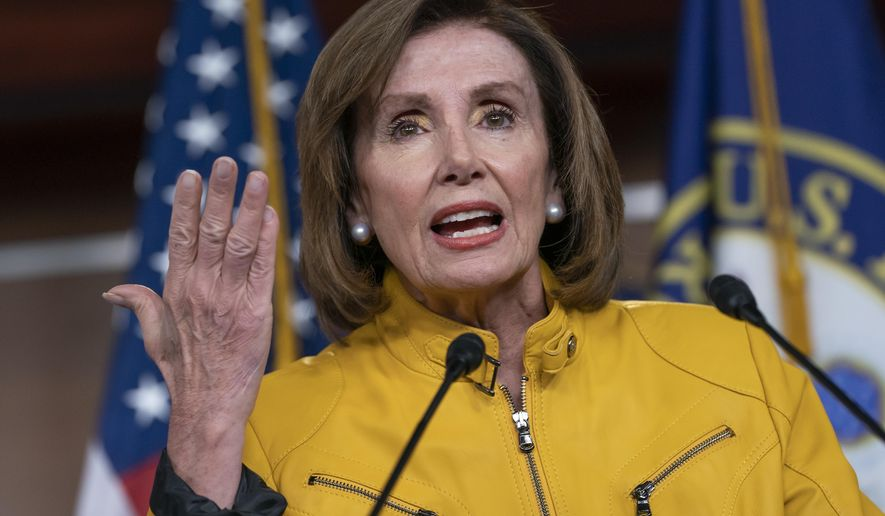 Speaker of the House Nancy Pelosi, D-Calif., reflects on President Donald Trump's statement that he would accept assistance from a foreign power, saying it's so against any sense of decency, during a news conference on Capitol Hill in Washington, Thursday, June 13, 2019. An avid sports fan, Pelosi is wearing the colors of the Golden State Warriors colors, a gold jacket with blue pants. (AP Photo/J. Scott Applewhite)