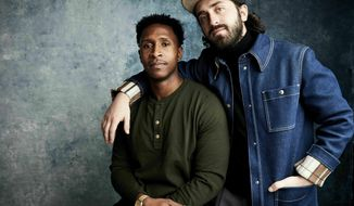 """FILE - In this Sunday, Jan. 27, 2019, file photo, writer Jimmie Fails, left, and director Joe Talbot pose for a portrait to promote the film """"The Last Black Man in San Francisco,"""" at the Salesforce Music Lodge during the Sundance Film Festival, in Park City, Utah. The film opens nationwide Friday, June 14 and is already one of the most acclaimed of the year. (Photo by Taylor Jewell/Invision/AP, File)"""