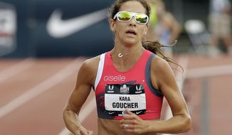 FILE - In this June 28, 2015, file photo, Kara Goucher runs in the 5,000-meter event at the U.S. Track and Field Championships in Eugene, Ore. She's taking part in her first trail marathon this weekend in Leadville, Colorado, on a route that ascends as high as 13,185 feet. (AP Photo/Don Ryan, File)