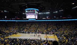 A general view of Oracle Arena during the first half of Game 4 of basketball's NBA Finals between the Golden State Warriors and the Toronto Raptors in Oakland, Calif., Friday, June 7, 2019. (AP Photo/Tony Avelar)