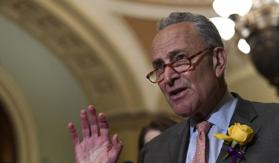 Senate Minority Leader Sen. Chuck Schumer of N.Y., speaks to reporters following the weekly policy lunches on Capitol Hill in Washington, Tuesday, June 4, 2019. (AP Photo/Susan Walsh) ** FILE **