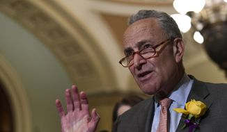 Senate Minority Leader Sen. Chuck Schumer of N.Y., speaks to reporters following the weekly policy lunches on Capitol Hill in Washington, Tuesday, June 4, 2019. (AP Photo/Susan Walsh)
