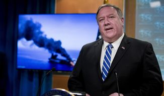 """""""The American people should rest assured we have high confidence with respect to who conducted these attacks as well as who conducted other attacks within the last 40 days,"""" said Secretary of State Mike Pompeo. (Associated Press/File)"""