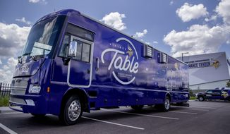 In this Wednesday, June 12, 2019, The Minnesota Vikings Foundation revealed a new food truck in Eagan, Minn., that will trek to Twin Cities neighborhoods to serve free healthy meals to kids in need this summer. The charitable arm of the NFL team says the custom-built purple Winnebago, dubbed the Vikings Table, is the first vehicle of its kind by a pro sports team. (Elizabeth Flores