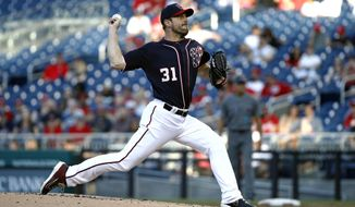 Washington Nationals starting pitcher Max Scherzer throws to an Arizona Diamondbacks batter during the second inning of a baseball game Friday, June 14, 2019, in Washington. (AP Photo/Patrick Semansky) ** FILE **