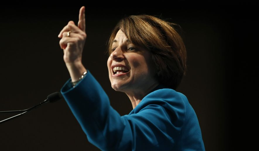 Democratic presidential candidate Amy Klobuchar speaks during the Iowa Democratic Party's Hall of Fame Celebration, Sunday, June 9, 2019, in Cedar Rapids, Iowa. (AP Photo/Charlie Neibergall)