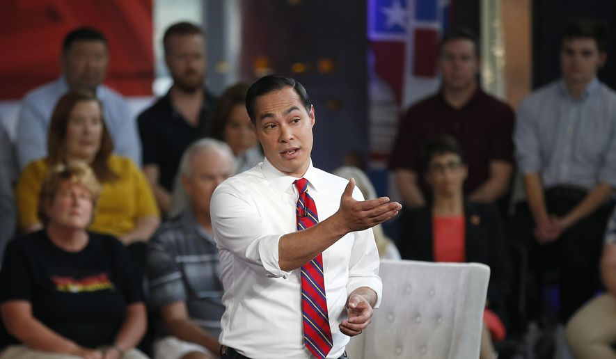Democratic presidential candidate Julian Castro speaks during a FOX News Channel town hall event, Thursday, June 13, 2019, in Tempe, Ariz. (AP Photo/Ross D. Franklin) ** FILE **
