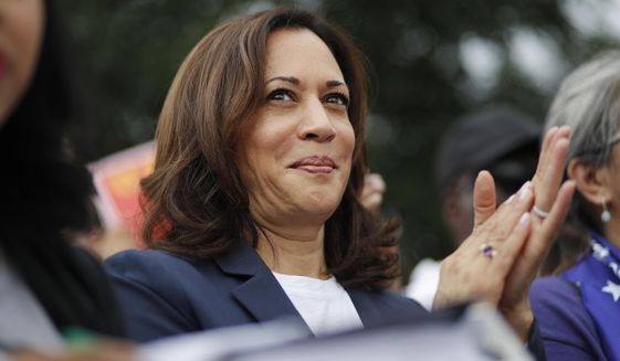 Democratic presidential candidate Sen. Kamala Harris, D-Calif., rallies with people protesting for higher minimum wage outside of McDonald's, Friday, June 14, 2019, in Las Vegas. (AP Photo/John Locher)