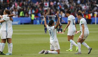 Argentina players react at the end Women's World Cup Group D soccer match between Argentina and Japan at the Parc des Princes in Paris, France, Monday, June 10, 2019. (AP Photo/Thibault Camus)