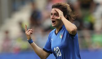 Italy's Cristiana Girelli celebrates after scoring her side's third goal during the Women's World Cup Group C soccer match between Italy and Jamaica at the Stade Auguste-Delaune in Reims, France, Friday, June 14, 2019. (AP Photo/Francisco Seco)
