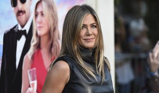 "Cast member Jennifer Aniston arrives at the Los Angeles premiere of ""Murder Mystery"" at the Regency Village Theatre on Monday, June 10, 2019, in Westwood, Calif. (Photo by Jordan Strauss/Invision/AP) ** FILE **"