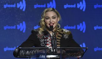 In this May 4, 2019 file photo,  Madonna accepts the advocate for change award at the 30th annual GLAAD Media Awards at the New York Hilton Midtown in New York. (Photo by Evan Agostini/Invision/AP)