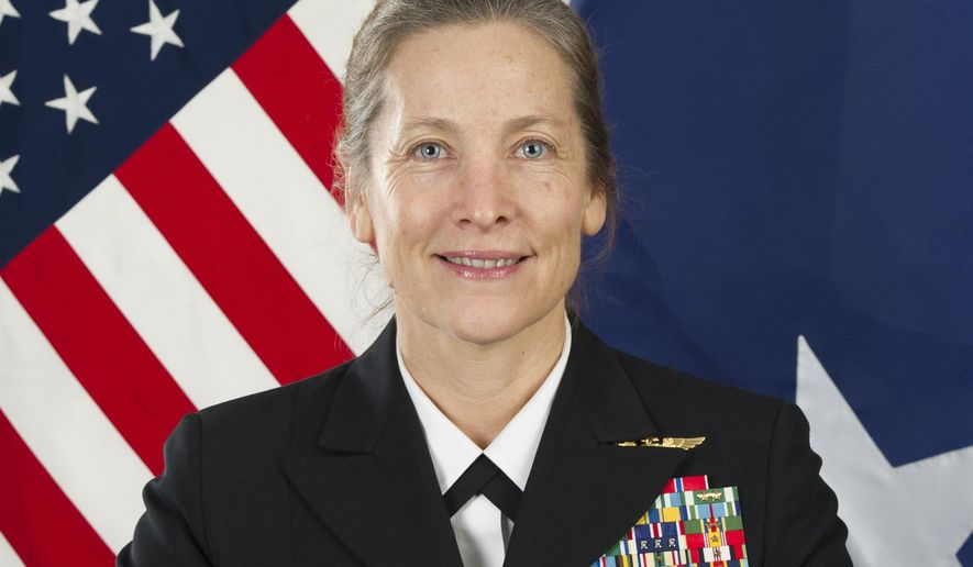 This image released by the U.S. Navy shows Rear Adm. Shoshana Chatfield. The U.S. Navy announced Friday, June 14, 2019, they have named Chatfield as the first female leader of the U.S. Naval War College after removing the college president who is under investigation. Rear Adm. Jeffrey Harley was removed from his post as the college president on Monday, June 10, days after The Associated Press reported he was under investigation and more than a year after the initial complaint was filed. (U.S Navy via AP)