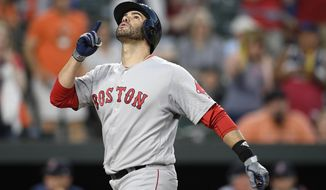 Boston Red Sox's J.D. Martinez celebrates his two-run home run during the fourth inning of a baseball game against the Baltimore Orioles, Friday, June 14, 2019, in Baltimore. (AP Photo/Nick Wass)