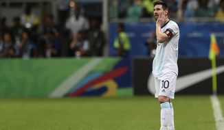 Argentina's Lionel Messi gestures during a Copa America Group B soccer match against Colombia at the Arena Fonte Nova in Salvador, Brazil, Saturday, June 15, 2019. (AP Photo/Ricardo Mazalan)