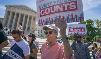 In this April 23, 2019, photo, Immigration activists rally outside the Supreme Court as the justices hear arguments over the Trump administration's plan to ask about citizenship on the 2020 census, in Washington. (AP Photo/J. Scott Applewhite) ** FILE **