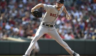 Boston Red Sox's Chris Sale throws against the Baltimore Orioles in the first inning of a baseball game Saturday, June 15, 2019, in Baltimore. (AP Photo/Gail Burton)