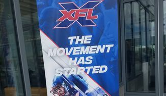 A poster outside the St. James Sports, Wellness and Entertainment Complex in Springfield, Va., promotes the XFL D.C. Summer Showcase on Saturday, June 15, 2019. The XFL invited roughly 100 football players to work out for the coaching staff of its Washington-based team. The league will begin playing in 2020. (Photo by Adam Zielonka / The Washington Times)