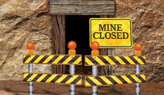 Mine Closed Illustration by Greg Groesch/The Washington Times