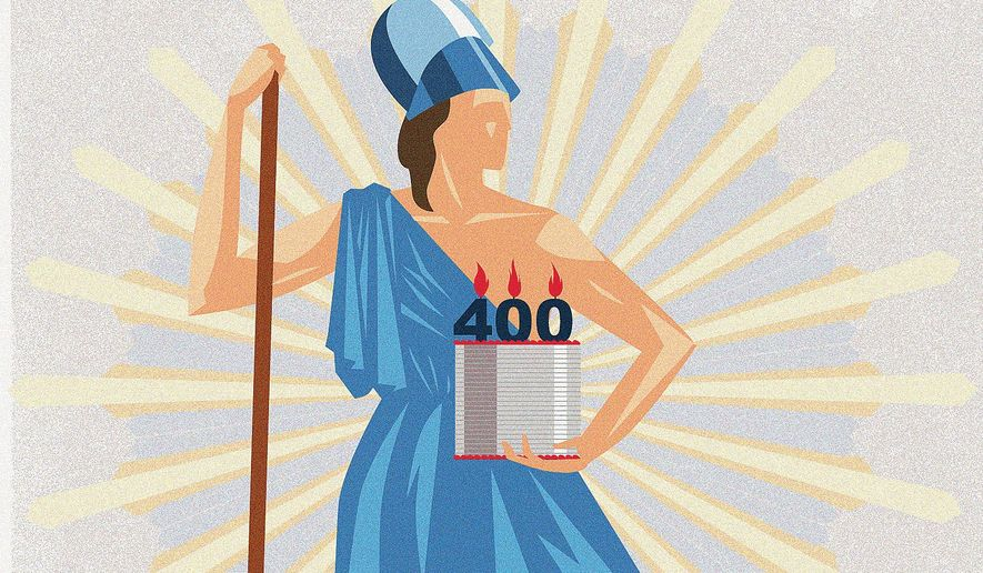 Illustration on Virginia's 400th anniversary by Linas Garsys/The Washington Times