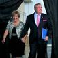 This April 26, 2014, file photo shows then-Maine Gov. Paul LePage and first lady Ann LePage arriving at the Maine Republican Convention, in Bangor, Maine. (AP Photo/Robert F. Bukaty, File)