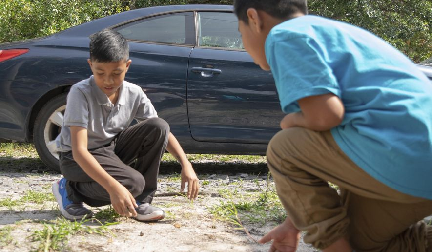 In this May 15, 2019 photo,  Christian, left, last name not given, plays a traditional Guatemalan game with his friend Adolfo in Bradenton, Fla. Christian's family came to the United States just over a year ago, after a volcano destroyed their small Guatemalan village. (Jonah Hinebaugh/Sarasota Herald-Tribune via AP)