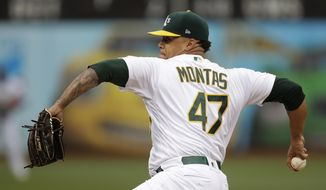 Oakland Athletics pitcher Frankie Montas works against the Seattle Mariners in the first inning of a baseball game Saturday, June 15, 2019, in Oakland, Calif. (AP Photo/Ben Margot)