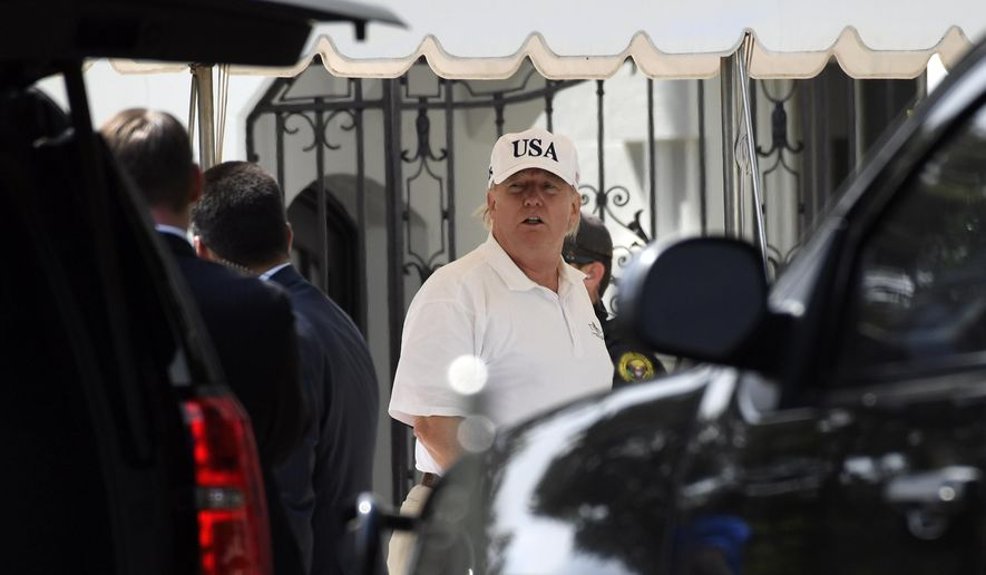 President Donald Trump gets out of his car and heads into the White House in Washington, Sunday, June 16, 2019, after spending the day golfing with Sen. Lindsey Graham, R-S.C., at his golf club in Sterling, Va. (AP Photo/Susan Walsh)