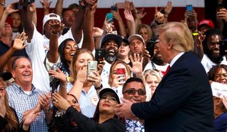 "President Trump's rally Tuesday will host at least 100,000 attendees, who will be treated to an all-day outdoor ""45 Fest."" (Associated Press)"