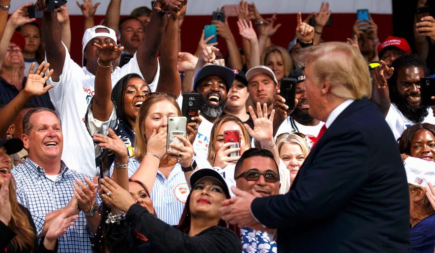 """President Trump's rally Tuesday will host at least 100,000 attendees, who will be treated to an all-day outdoor """"45 Fest."""" (Associated Press)"""