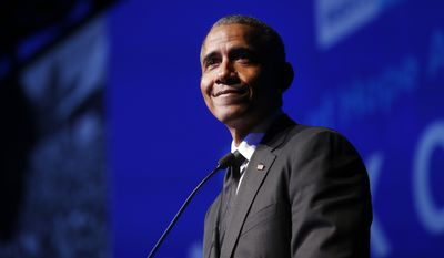 In this Dec. 12, 2018 file photo, former President Barack Obama accepts the Robert F. Kennedy Human Rights Ripple of Hope Award at a ceremony in New York. Obama appears on a reworked song by Lin-Manuel Miranda originally from the Broadway hit Hamilton. Released Friday, One Last Time (44 Remix) features Obama reciting a passage from George Washingtons farewell address. (AP Photo/Jason DeCrow, File)